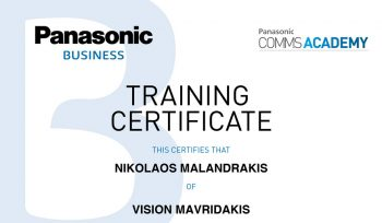 Η VISION MAVRIDAKIS πιστοποιήθηκε από την PANASONIC COMMS